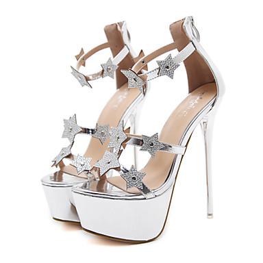 Mujer Zapatos Semicuero Primavera / Otoño Confort / Innovador / Botas de Moda Sandalias Tacón Stiletto Negro / Plata / Boda Vente Le Moins Cher Confortable Vente En Ligne Collections De Vente À Bas Prix AAls9LWM2K