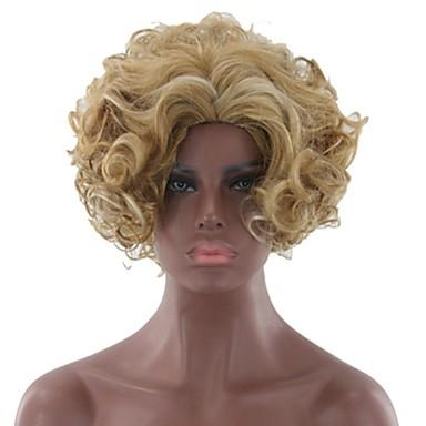 פאות סינתטיות מתולתל / אפרו בלונד שיער סינטטי בלונד פאה בגדי ריקוד נשים ללא מכסה
