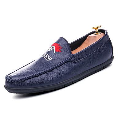 בגדי ריקוד גברים נעליים PU אביב / סתיו סוליות מוארות נעליים ללא שרוכים לבן / שחור / כחול