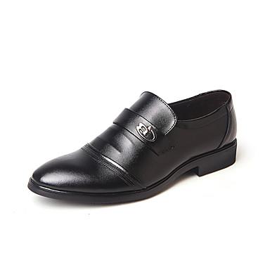 נעליים פורמליות עור / PU אביב / קיץ נוחות נעליים ללא שרוכים שחור