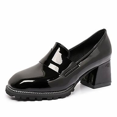 בגדי ריקוד נשים נעליים PU אביב נוחות עקבים עקב עבה בוהן מרובעת שחור / ירוק