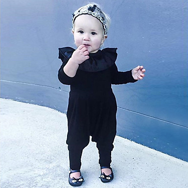 5a452716b Baby Girls' Simple Daily Solid Colored Short Sleeve Cotton / Linen / Bamboo  Fiber Overall & Jumpsuit Black