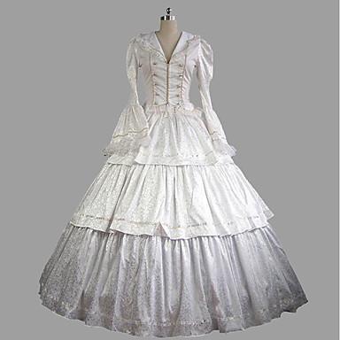 רוקוקו / ויקטוריאני תחפושות בגדי ריקוד נשים תלבושות לבן וינטאג Cosplay מֶשִׁי שרוול ארוך תחפושות ליל כל הקדושים
