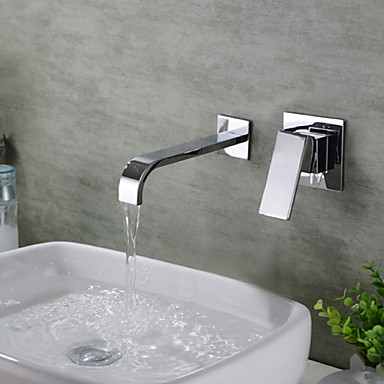 Baderom Sink Tappekran - Foss Krom Vægmonteret Enkelt håndtak To HullerBath Taps