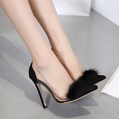 בגדי ריקוד נשים נעליים עור נובוק אביב / סתיו נוחות עקבים עקב סטילטו שחור