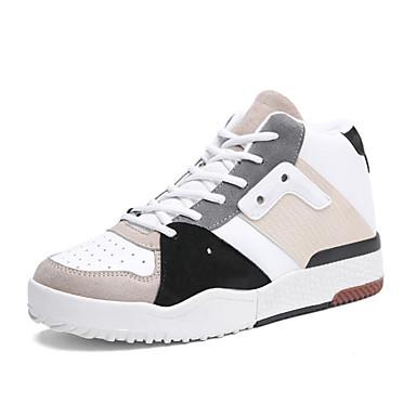 עור אביב / סתיו נוחות נעלי ספורט קולור בלוק לבן / שחור