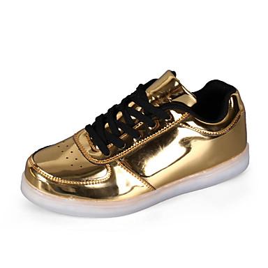 Dame Sko PU Vår Sommer Høst Lysende sko Komfort Flate sko Flat hæl til Hvit Svart Sølv Rød Gylden