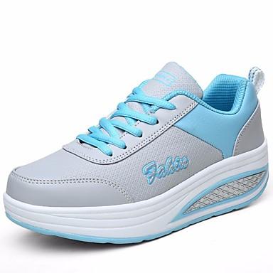 בגדי ריקוד נשים נעליים דמוי עור אביב / קיץ נוחות נעלי ספורט עקב טריז בוהן עגולה כחול / ורוד