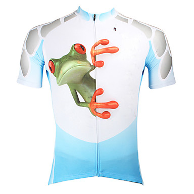 ILPALADINO Men's Short Sleeves Cycling Jersey - Blue Animal Bike Jersey, Quick Dry, Ultraviolet Resistant, Breathable