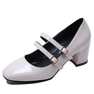 בגדי ריקוד נשים נעליים PU אביב / סתיו נוחות עקבים עקב נמוך שחור / שקד / בורדו
