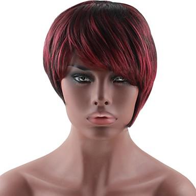 פאות סינתטיות ישר תספורת בוב / תספורת שכבות שיער סינטטי אדום / שחור פאה בגדי ריקוד נשים ללא מכסה