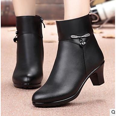 בגדי ריקוד נשים נעליים עור נאפה Leather / PU סתיו / חורף נוחות מגפיים עקב עבה מגפונים\מגף קרסול שחור
