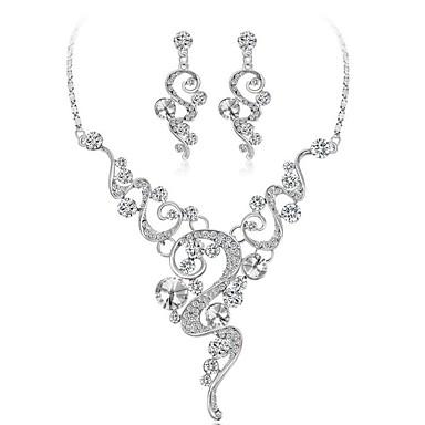 בגדי ריקוד נשים קריסטל סט תכשיטים - ציפוי זהב אופנתי לִכלוֹל לבן עבור חתונה / מתנה / עגילים