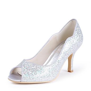 Mujer Zapatos Lentejuelas Primavera / Verano Pump Básico Zapatos de boda Tacón Stiletto Punta abierta Lentejuela Plata / Boda / Fiesta y Noche 6R8Czdy
