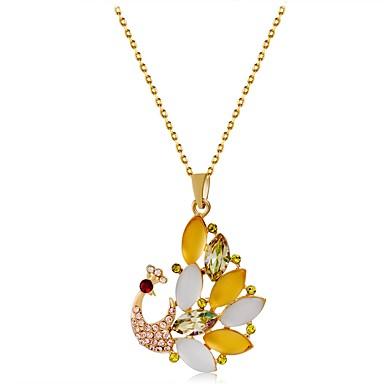 בגדי ריקוד נשים אופאל / קריסטל שרשראות תליון - ציפוי זהב חיה חמוד קשת שרשראות תכשיטים עבור מתנה, יומי