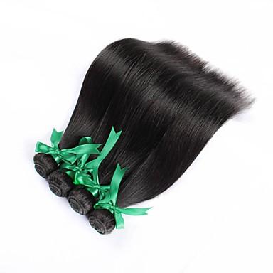 4 חבילות שיער ברזיאלי ישר שיער אנושי טווה שיער אדם שוזרת שיער אנושי תוספות שיער אדם בגדי ריקוד נשים