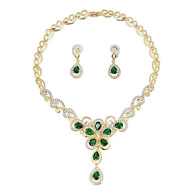 בגדי ריקוד נשים סט תכשיטים - ציפוי זהב קלסי, אופנתי לִכלוֹל סטי תכשיטי כלה ירוק עבור חתונה מסיבת ערב