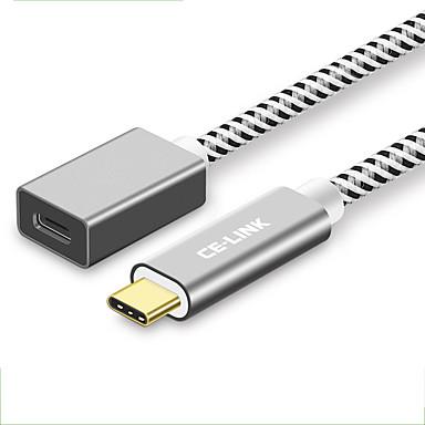 CE-Link USB 2.0 כבל, USB 2.0 to סוג USB 3.0 C כבל זכר-נקבה 0.5M (1.5Ft) 10 Gbps