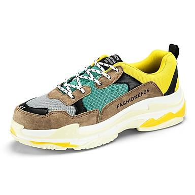 בגדי ריקוד גברים נעלי נוחות רשת / עור / PU אביב / סתיו נעלי אתלטיקה ריצה / הליכה קולור בלוק שחור / אפור / צהוב