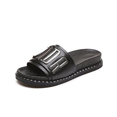 Mulheres Sapatos Couro Ecológico Verão Conforto Chinelos e flip-flops Caminhada Salto Baixo Ponta Redonda Flor para Casual Branco Preto