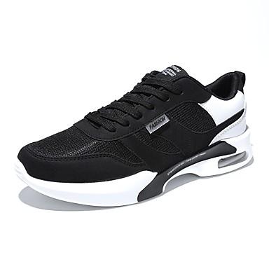 PU אביב / סתיו נוחות נעלי אתלטיקה ריצה שחור / שחור לבן / שחור אדום