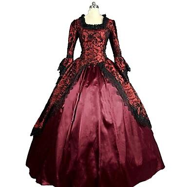 רוקוקו ויקטוריאני תחפושות בגדי ריקוד נשים שמלות אדום וינטאג Cosplay מֶשִׁי שרוול 4\3 בלון\מנופח עד הריצפה ארוך נשף מידות גדולות מותאם אישית