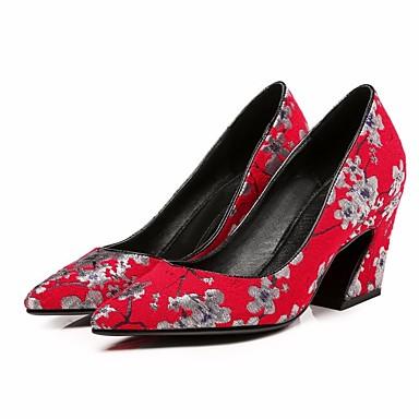 בגדי ריקוד נשים נעליים עור אביב / סתיו נוחות עקבים עקב עבה אפור / אדום