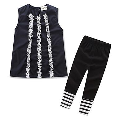 סט של בגדים כותנה פוליאסטר קיץ יומי אחיד פסים בנות חמוד יום יומי שחור