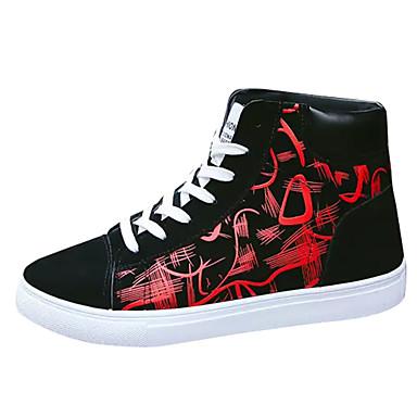 בגדי ריקוד גברים נעלי נוחות PU אביב / סתיו נעלי ספורט שחור לבן / שחור אדום / שחור / כחול