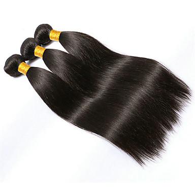 economico Extension per capelli-3 pacchetti Brasiliano Liscio 10A Capello vergine Ciocche a onde capelli veri Nero Tessiture capelli umani Estensioni dei capelli umani Per donna / Dritto