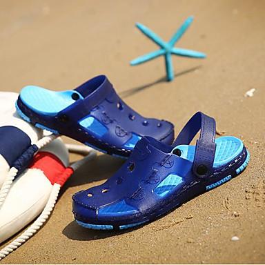 בגדי ריקוד גברים נעלי נוחות דמוי עור קיץ סנדלים כחול כהה / חום / אדום
