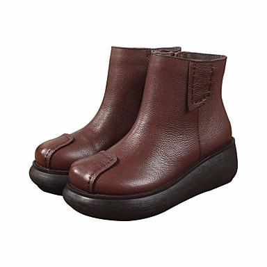 בגדי ריקוד נשים נעליים עור נאפה Leather / עור סתיו / חורף נוחות / מגפיים מגפיים שטוח שחור / קפה