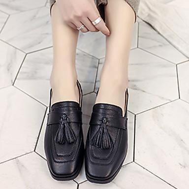 Tacón Plano Zapatos bajo PU Zapatos On Confort Mujer taco Otoño Beige Negro Slip y 06499885 Primavera de Marrón 7gHOOFX8