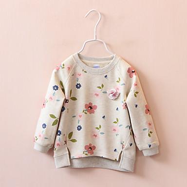 baratos Moletons Para Meninas-Bébé Para Meninas Simples Floral Manga Longa Padrão Algodão Moleton & Blusa de Frio Branco