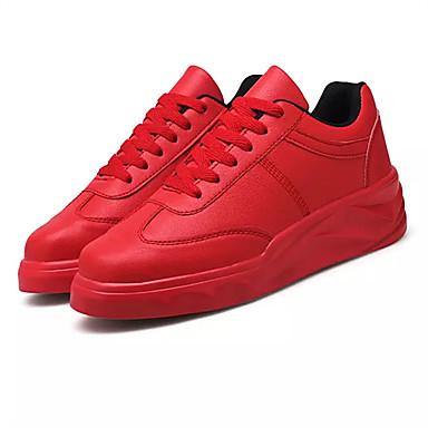 Damen Schuhe PU Frühling Herbst Komfort Sportschuhe Flacher Absatz Schnürsenkel für Draussen Weiß Schwarz Rot
