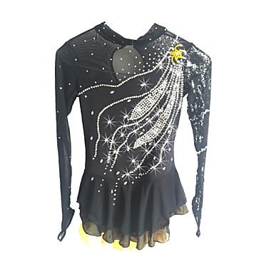 שמלה להחלקה אמנותית בגדי ריקוד נשים / בנות החלקה על הקרח שמלות שחור ספנדקס ביגוד להחלקה על הקרח נצנצית שרוול ארוך החלקה אמנותית