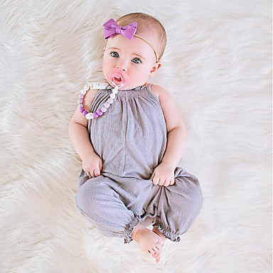 86f537a65 Baby Girls' Simple / Vintage Daily Solid Colored Short Sleeves / Sleeveless  Cotton / Linen / Bamboo Fiber Overall & Jumpsuit Blushing Pink / Toddler