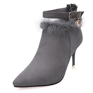 בגדי ריקוד נשים נעליים עור נובוק סתיו / חורף נוחות / מגפיים מגפיים עקב סטילטו מגפונים\מגף קרסול שחור / אפור