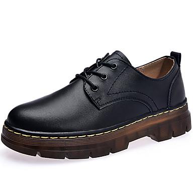 בגדי ריקוד נשים נעליים עור אביב / קיץ נוחות נעלי אוקספורד שטוח מגפיים באורך אמצע - חצי שוק שחור / Wine