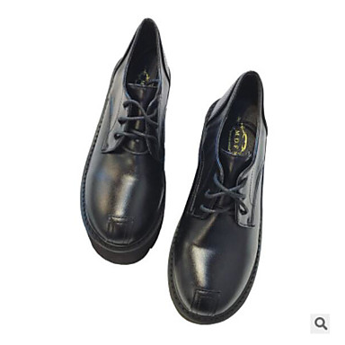 בגדי ריקוד נשים PU סתיו / חורף נוחות נעלי אוקספורד עקב גבוה בוהן סגורה מגפיים באורך אמצע - חצי שוק שחור