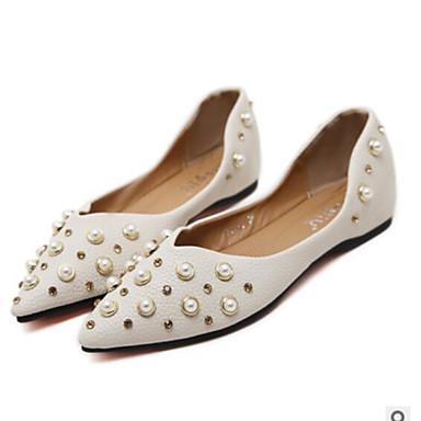 בגדי ריקוד נשים נעליים PU אביב / סתיו נוחות שטוחות שטוח בוהן מחודדת ורוד / שקד