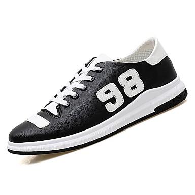 נעליים PU אביב סתיו נוחות נעלי ספורט ל קזו'אל לבן שחור