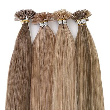 voordelige Extensions van echt haar-Neitsi Samensmelten / U-tip Extensions van echt haar Recht Mensen Remy Haar Braziliaans haar Natuurlijke Kleur 1pack Dames Platina Blond