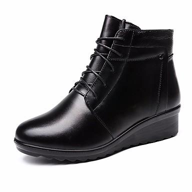 בגדי ריקוד נשים נעליים עור סתיו / חורף נוחות / מגפיים מגפיים עקב טריז מגפונים\מגף קרסול שחור