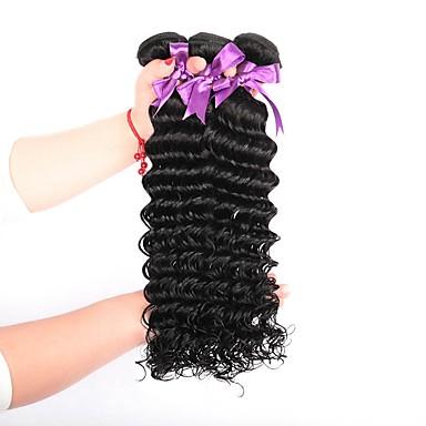 3 חבילות שיער ברזיאלי גל עמוק שיער אנושי טווה שיער אדם / תוספות שיער משיער אנושי שוזרת שיער אנושי תוספות שיער אדם