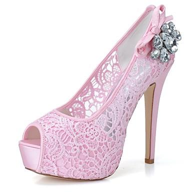Chaussures Talon Eté Mariage Blanc Tulle de mariage Femme Strass ouvert Aiguille Escarpin 06471982 Printemps Basique Rose Bout Chaussures wSzqYBA