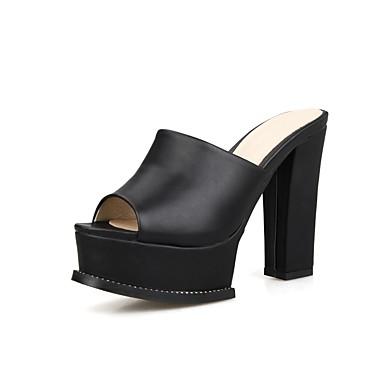 בגדי ריקוד נשים נעליים דמוי עור אביב / קיץ רצועה אחורית סנדלים עקב עבה בוהן מציצה לבן / שחור