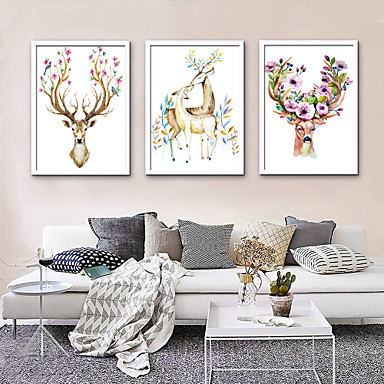 Animals Illustration Wall Art,PVC Material With Frame For Home Decoration Frame Art Living Room Indoor