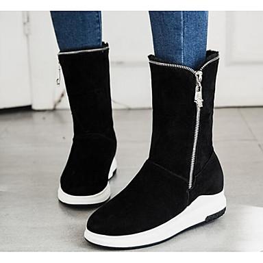 בגדי ריקוד נשים נעליים עור נובוק סתיו / חורף נוחות / מגפי שלג מגפיים שטוח מגפיים באורך אמצע - חצי שוק / מגפיים באורך מעל הברך שחור / אפור / ירוק צבא