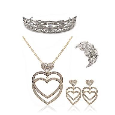 בגדי ריקוד נשים סט תכשיטים - יהלום מדומה לב ארופאי, אופנתי לִכלוֹל נזרים / סטי תכשיטי כלה זהב עבור חתונה / Party